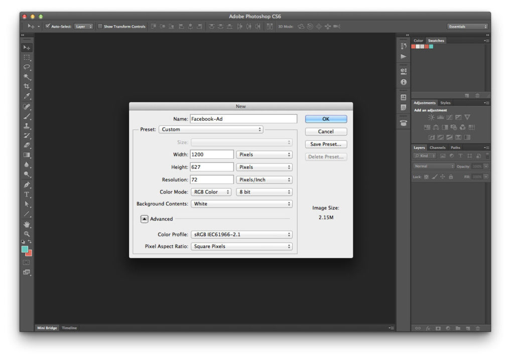 create a new document (size: 1200px x 627px)